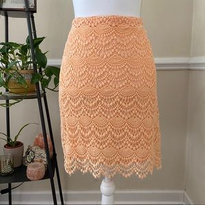 Valerie Bertinelli  Lace Skirt in Orange Cream